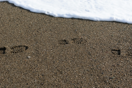 Footprint in the sand on a winter beach