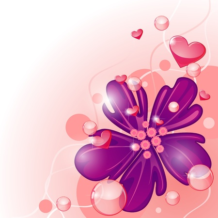Valentine card design with exotic purple flower and hearts