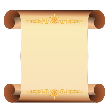 Beige scrolled blank parchment with two golden borders
