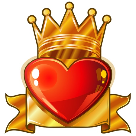 Red glossy heart with golden royal crown and banner