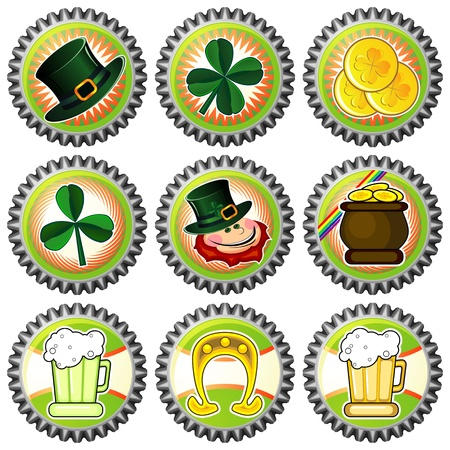 Set of nine bottle caps with Saint Patrick's Day symbols