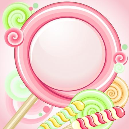 Big pink lollipop as speech bubble over pink