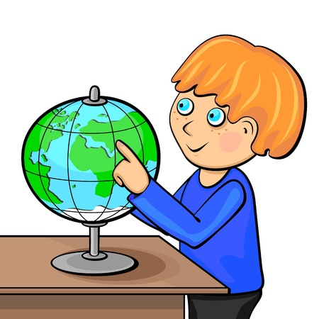 Little ginger boy touching globe with finger