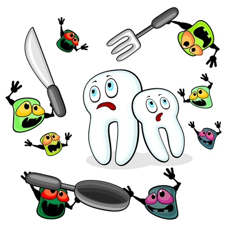 Two teeth are attacked by aggressive germs of caries