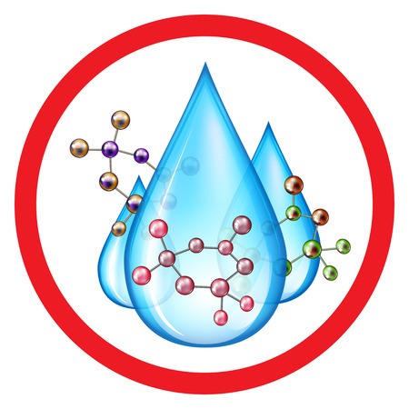 Group of water drops with molecules of pollutant
