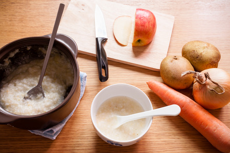 A bowl of homemade baby food includes ingredients such as carrots, potatoes, and an apple.