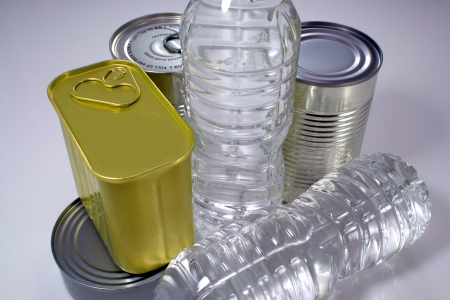 Canned goods and bottled water for storing