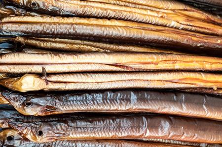 fresh smoked eel ready to eat