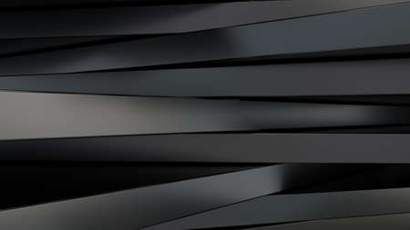 Foto de Black metal panels of rectangular shape. Random chaotic position. Abstract composition. 3d rendering - Imagen libre de derechos