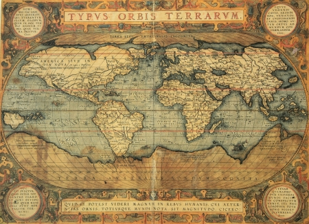 reproduction of 16th century map of the world  engraved and colored by the famous dutch cartographer Abraham Ortelius