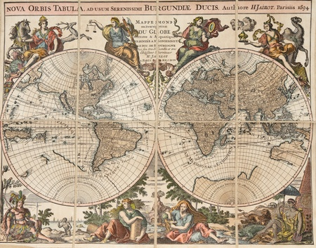 Reproduction of an antique map of the world: