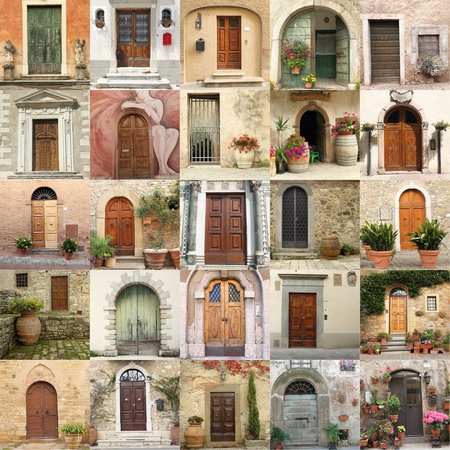 collage with retro doors in Italy