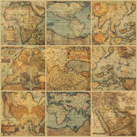 Foto de collage with antique maps - Imagen libre de derechos