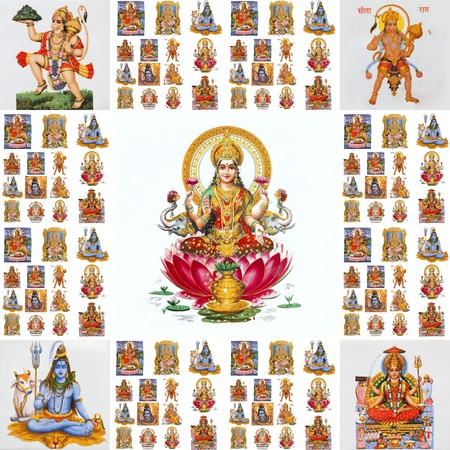 collage with hindu  gods ( Lakshmi, Hanuman,Shiva,Parvati,...)
