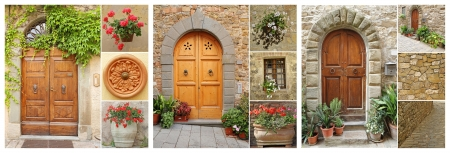 abstract doorways set to the tuscan houses, Italy, Europe