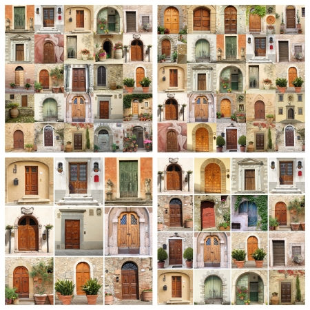 collage made of many images of beautiful old doors from Italy, Europe