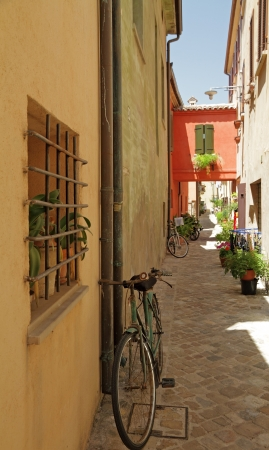 narrow street in  San Giovanni in Marignano village , called town of witches, region  Emilia Romagna, Italy, Europe