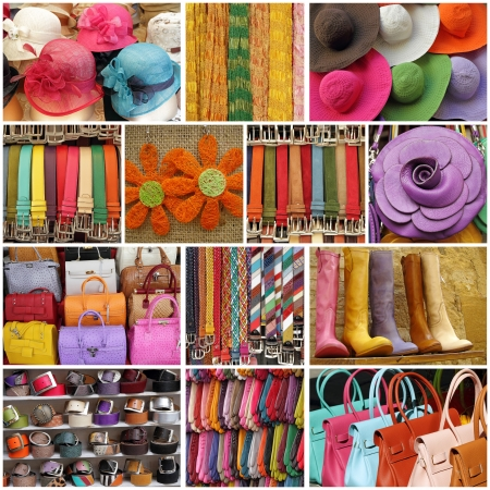 colorful women accessories, images from shop windows in Italy