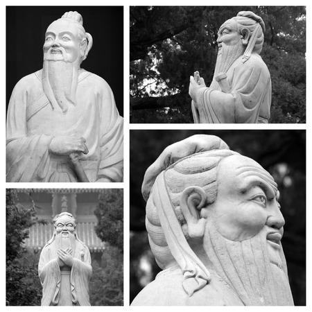 Confucius statues collage, China