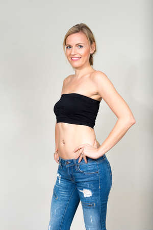 Photo for Portrait of beautiful woman with blonde hair wearing underwear - Royalty Free Image