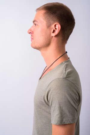 Photo pour Portrait of man wearing clothes with military concept - image libre de droit