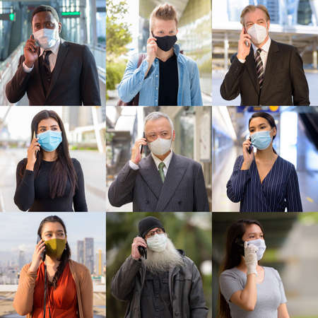 Photo pour Collage of people wearing protective facial mask and talking on the phone - image libre de droit