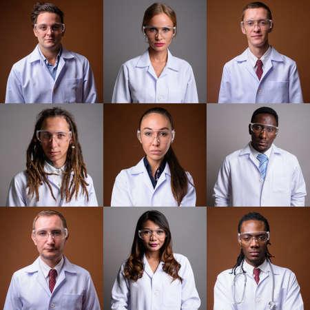 Photo pour Collage of diverse multi ethnic and mixed age scientists - image libre de droit