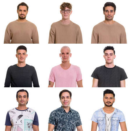 Photo pour Collage of multi ethnic and mixed age men - image libre de droit