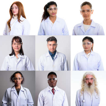 Photo pour Collage of doctors and healthcare workers looking at camera shot in studio - image libre de droit