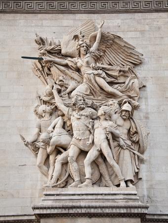 The detail of the Arc de Triomphe, paris, france
