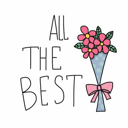 Illustration pour All the best word and pink flower bouquet cartoon vector illustration doodle style - image libre de droit