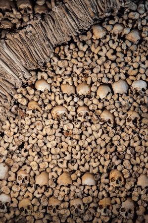 Background made of human bones and skulls