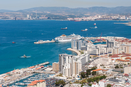 Scenic view from above over the port of Gibraltar