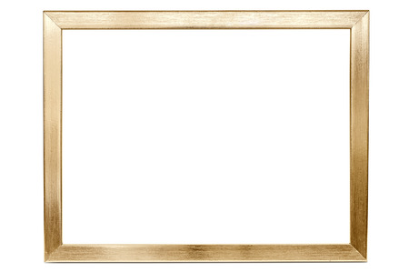 Foto de Golden aluminum empty photo frame isolated on white background with clipping path - Imagen libre de derechos