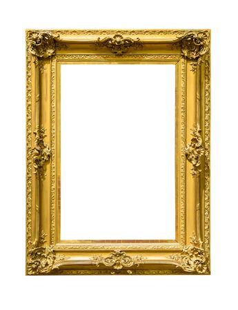 Photo pour Portrait golden decorative picture frame isolated on white background - image libre de droit