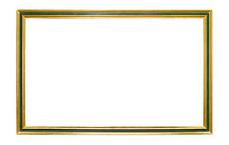 Photo pour Wooden golden colored picture frame with green element isolated on white background - image libre de droit