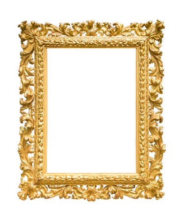 Photo pour Rectangle decorative golden picture frame isolated on white background with clipping path - image libre de droit