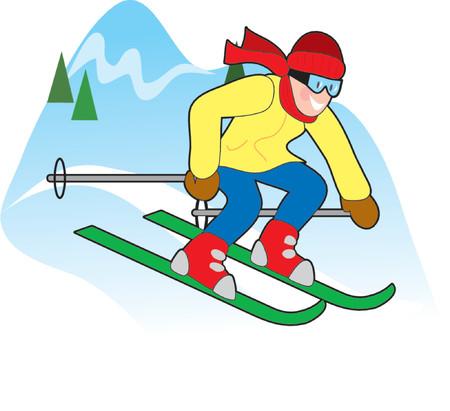 Happy downhill skier on a snowy hilltop