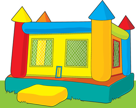 A colorful bounce castle set outdoors on white background