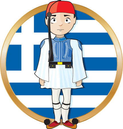 A Greek Evzone standing at attention in frontof a Greek flag