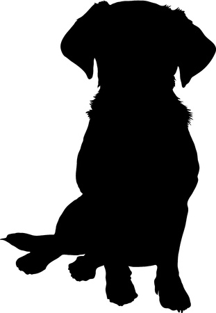 A black silhouette image of a puppy sitting facing the viewer