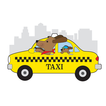 A dog is driving a taxi in New York. His child is riding in the back seat