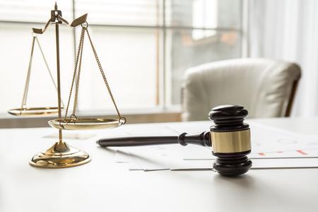 Gavel in courtroom working office of lawer legislation.