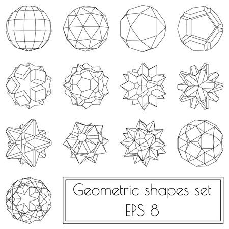 Ilustración de Collection of 13 3d geometric shapes in outlines - Imagen libre de derechos