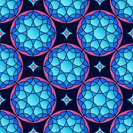 Vector seamless patern with ancient geometry circle ornates. Simple mandala in blue and pink colors.
