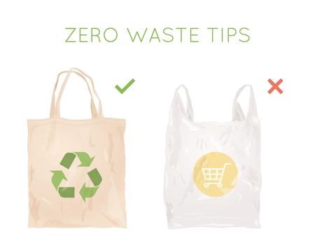 Illustration pour Reusable cloth bag instead of plastic bag. Shopping bags. Zero waste tips. Eco lifestile - image libre de droit