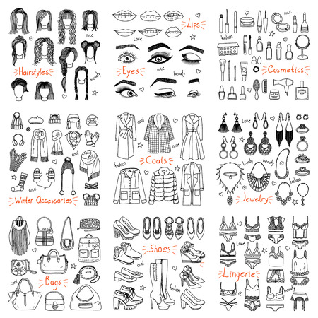 Photo pour Big set of hand drawn fashion clothes and accessories. Coats, shoes, cosmetics, hair styles, jewerly and other in doodle style - image libre de droit