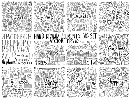 Photo pour Big collection of hand drawn elements. Doodle flowers, food, holidays, business, sport and other creative design elements - image libre de droit