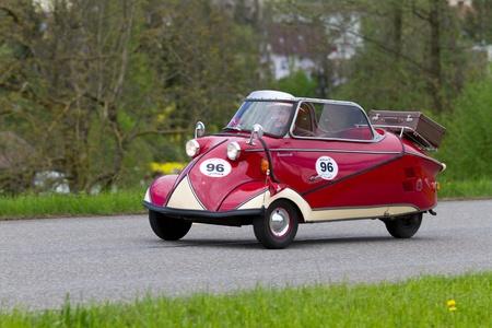 MUTSCHELLEN, SWITZERLAND-APRIL 29: Vintage car Messerschmitt KR 200 from 1955 at Grand Prix in Mutschellen, SUI on April 29, 2012.  Invited were vintage sports cars and motorbikes.