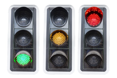 traffic lights showing red green and red isolated on white concepts for go and stopp and structure chaos